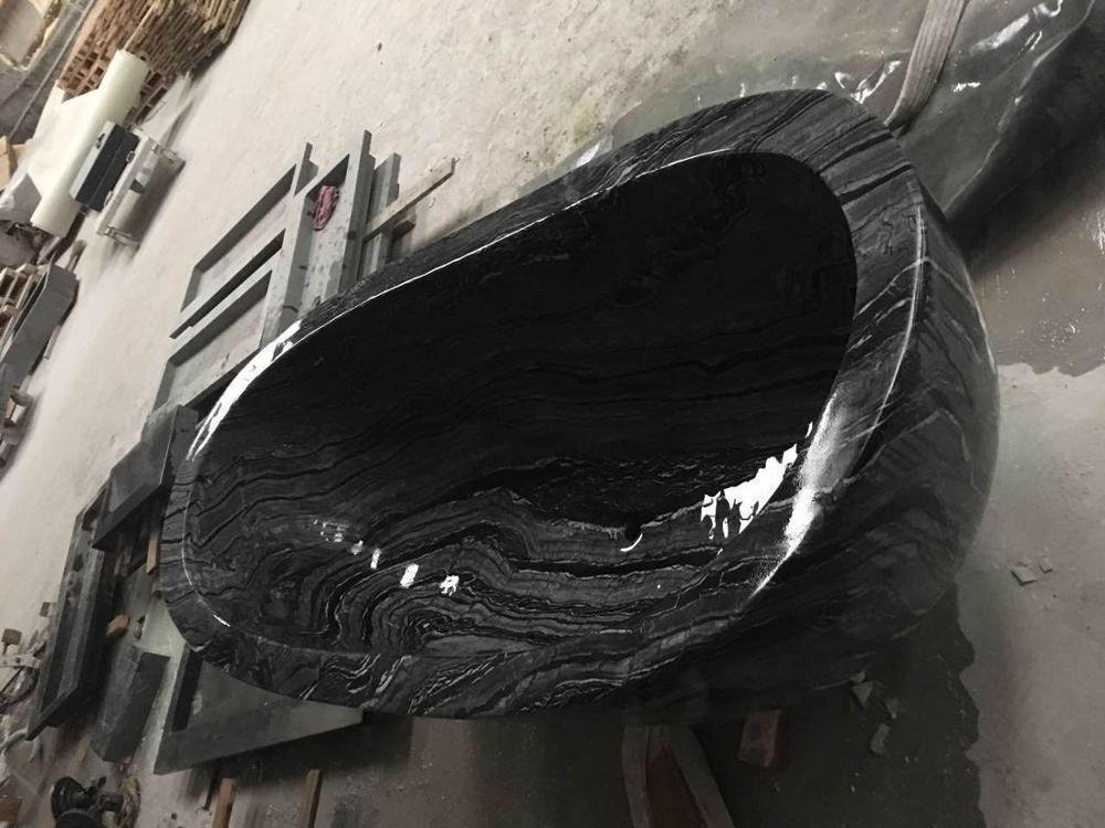 Ancient wood marble bath tub black marble bathtub