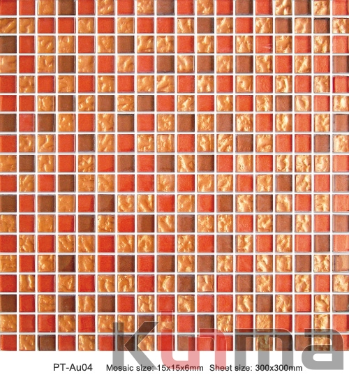 cheap price red mixed glass China tile mosiac